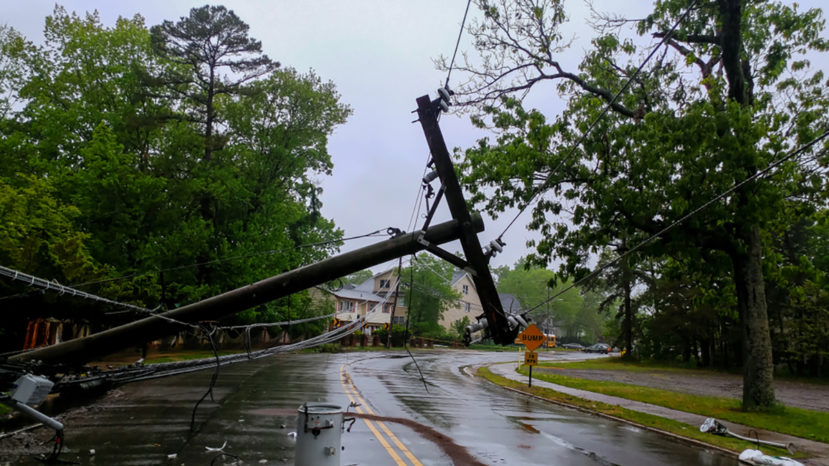 transformer on a electric poles and a tree laying across power lines over a road after a hurricane